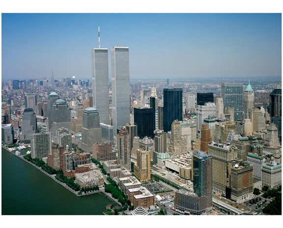 Aerial view of Lower Manhattan with the Twin Towers B Old Vintage Photos and Images