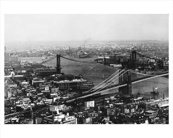 Aerial View of Manhattan and Western Brooklyn showing the Brooklyn Bridge  & Manhattan bridge under construction  1908 NYC