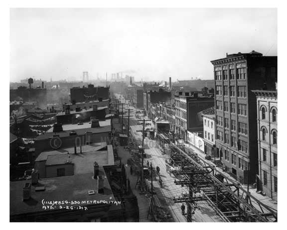 Aerial View of Metropoloitan  Avenue - Williamsburg - Brooklyn, NY 1917 Old Vintage Photos and Images