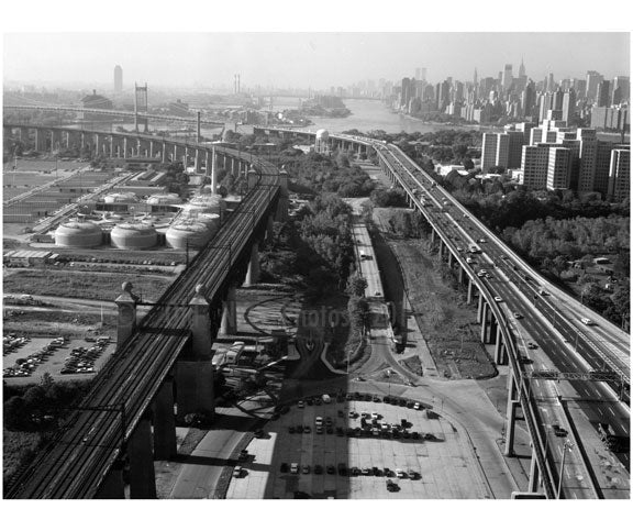 Aerial view of roadway toward Throgs Neck Bridge Old Vintage Photos and Images