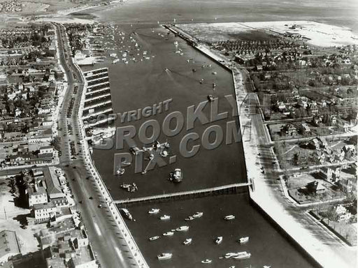 Aerial view of Sheepshead Bay looking east, Ocean Ave. bridge in foreground, 1938 Old Vintage Photos and Images