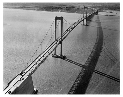 Aerial View of  the Delaware Memorial  Bridge - designed by Othmar Ammann, the same designer as the Verrazano Bridge Old Vintage Photos and Images