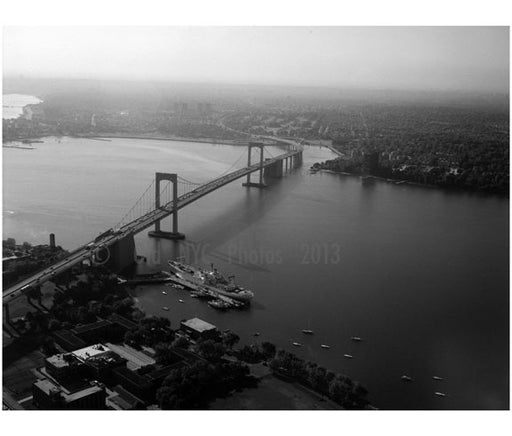 Aerial view of Throgs Neck Bridge from the Bronx looking south Old Vintage Photos and Images