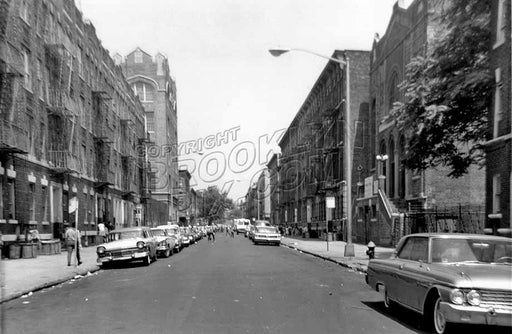 Alabama Avenue looking north to Dumont Avenue, showing P.S. 174 and synagogue, 1964 Old Vintage Photos and Images