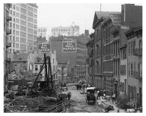 Alternate view of Prince Street construction with S.A. Maxwell & Co. Wallpaper  - Soho - New York, NY 1901 Old Vintage Photos and Images
