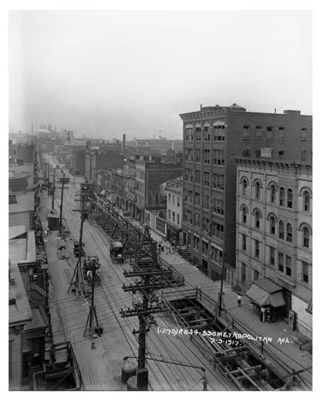 An Aerial View Metropolitan Ave  - Williamsburg - Brooklyn, NY 1917 Q3 Old Vintage Photos and Images