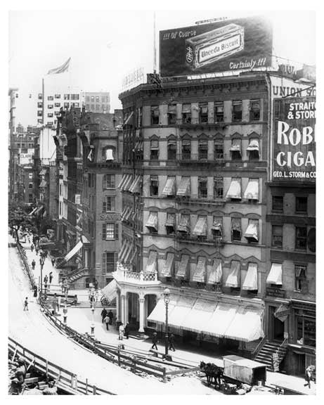 Another up close shot of Union Square Park - under construction with a huge 'Robert Burns Cigars' Bilboard ona bldg. -July 1902 - New York, NY Old Vintage Photos and Images