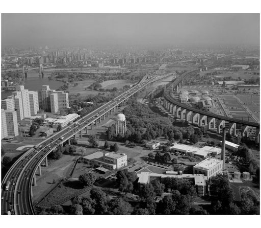 Approach viaduct to Triborough suspension span from Randall's Island toll / exchange plaza Old Vintage Photos and Images