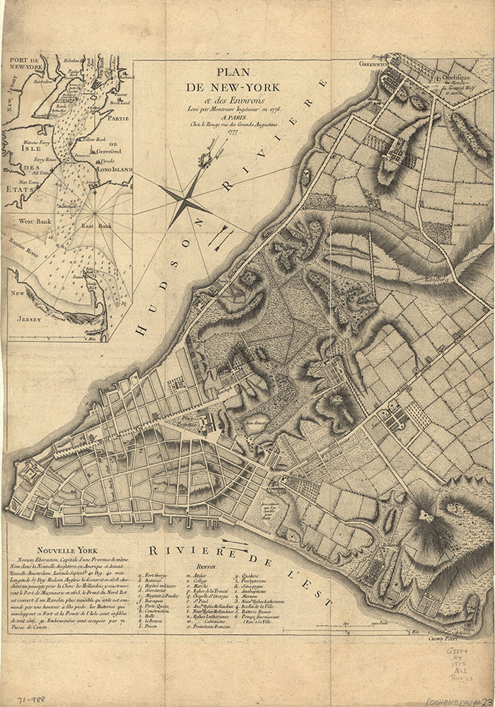 Historic Map of New York City, 1770's