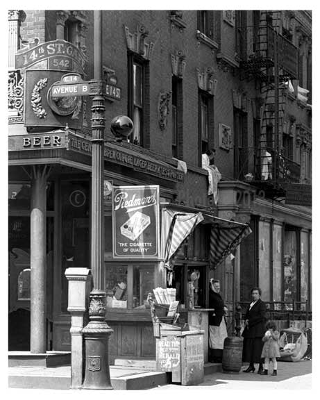 Avenue B & East 14th Street - Alphabet City - Manhattan - New York, NY 1918 D Old Vintage Photos and Images
