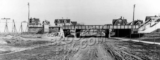 Avenue J looking east from East 14th Street, showing recently completed Brighton Line trestle, 1908 Old Vintage Photos and Images