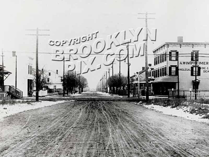 Avenue L, looking west toward East 94th Street, Canarsie shuttle trolley line crossing Old Vintage Photos and Images