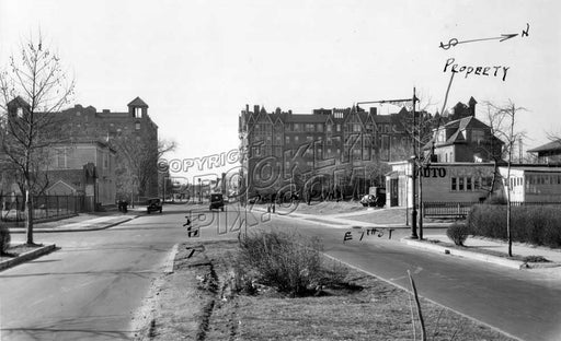 Avenue R looking west to East 7th Street and Ocean Parkway in the distance, 1935 Old Vintage Photos and Images