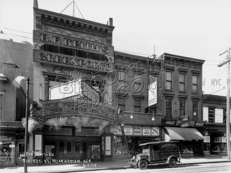 B.F. Keith's Greenpoint Theater, 825-827-831 Manhattan Avenue, 1928 Old Vintage Photos and Images