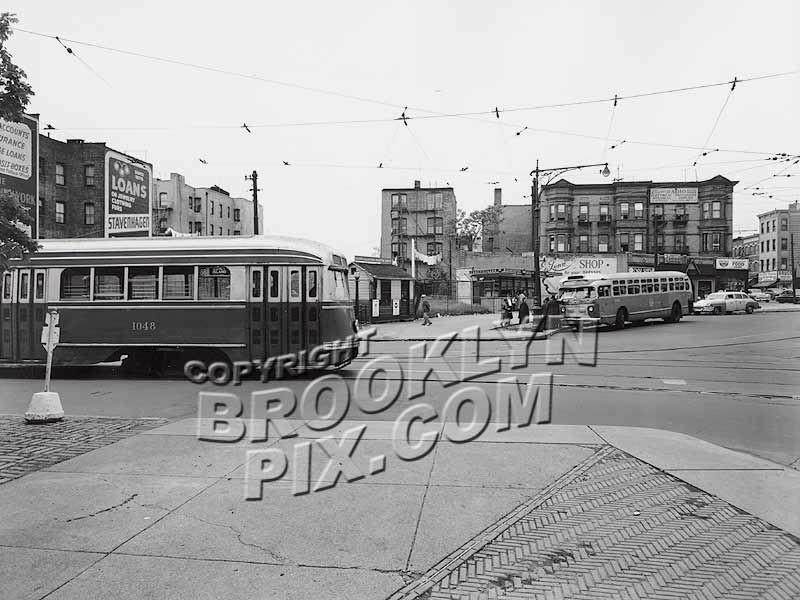 Bartel-Pritchard Square, where Coney Island Avenue trolleys looped to return to Coney Island, c.1950 Old Vintage Photos and Images