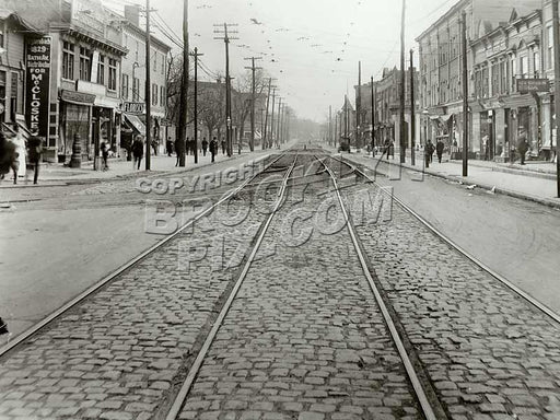 Bath Avenue from Bay 19th, looking SW, 1920. Original West End RR track entering from left Old Vintage Photos and Images