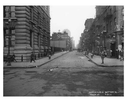Battery Place & Washington Street - Financial District - Manhattan  1914 Old Vintage Photos and Images