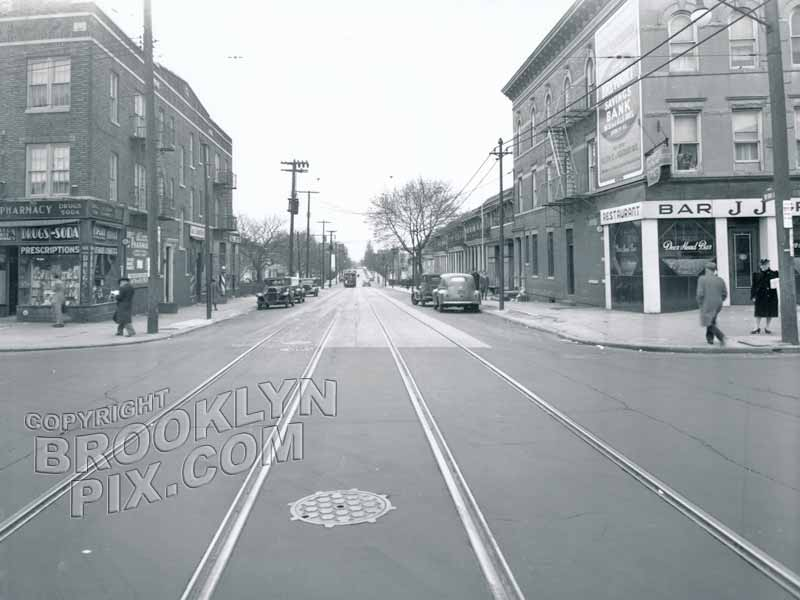 Bay Ridge Avenue (69th Street) southeast at Fort Hamilton Parkway, 1946
