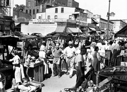 Belmont Av. Pushcart market - Brownsville Brooklyn 1950 Old Vintage Photos and Images