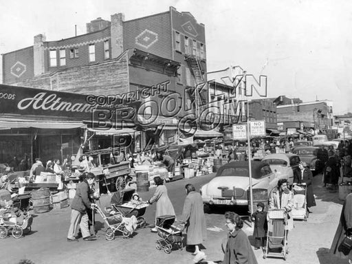 Belmont Avenue pushcart market east from Thatford Avenue, 1955 Old Vintage Photos and Images