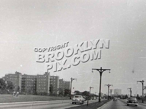 Belt Parkway (Shore Parkway) when it was two lanes. Ulmer Park near 26th Avenue, 1940s Old Vintage Photos and Images