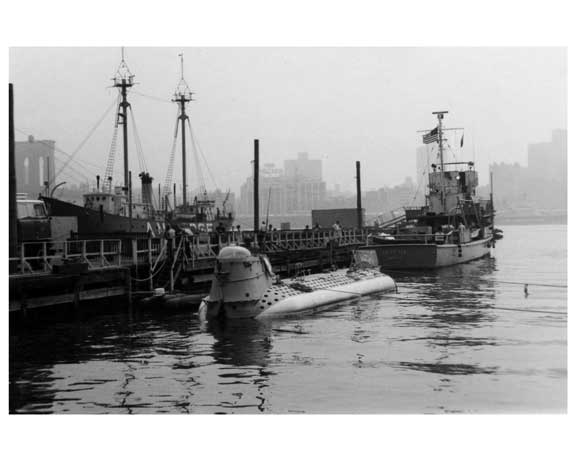 """Ben Franklin"" submerged in the harbor at the South Street Seaport with the Brooklyn Bridge in the Background 1969 Old Vintage Photos and Images"