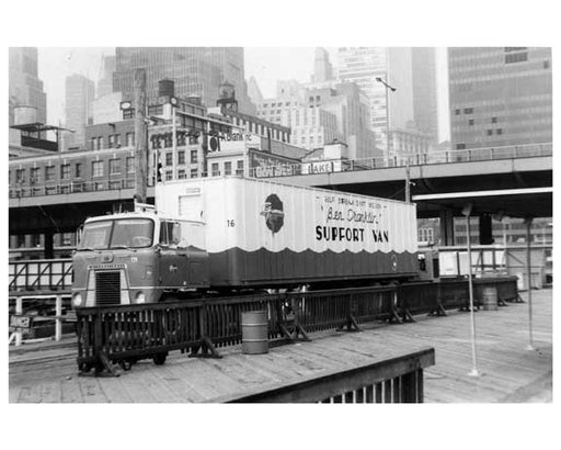"""Ben Franklin"" support  truck at the South Street Seaport 1969 Old Vintage Photos and Images"