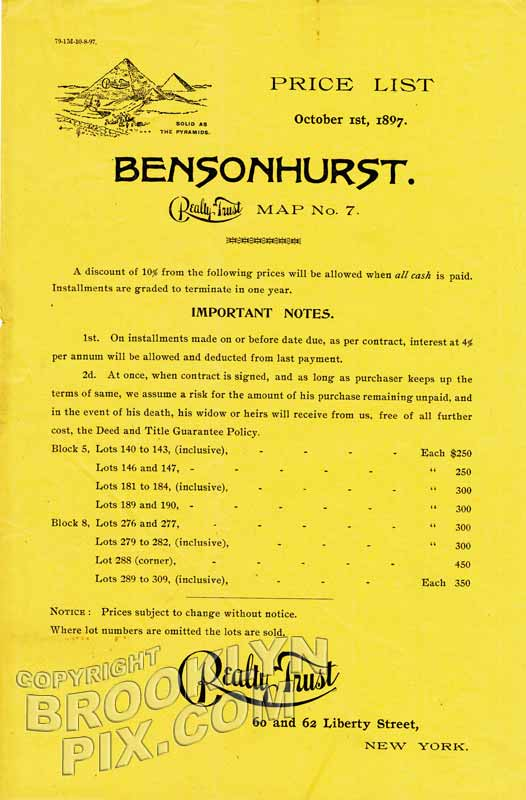 Bensonhurst, original price list, 1897