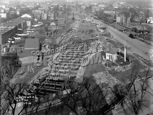 Bird's-Eye view of Windsor Terrace looking north from roof of P.S.130, showing subway construction, 1930 Old Vintage Photos and Images
