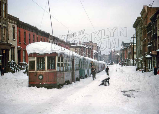 Blizzard of December 1947, Rogers Avenue looking north from St. Mark's Avenue Old Vintage Photos and Images