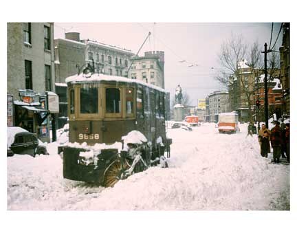 Blizzard with Street Sweeper Crown Heights Brooklyn NY Old Vintage Photos and Images