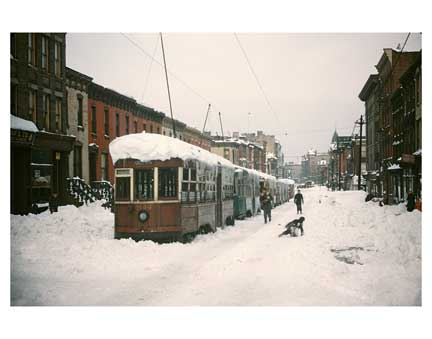 Blizzard with Trolleys Crown Heights Brooklyn NY Old Vintage Photos and Images