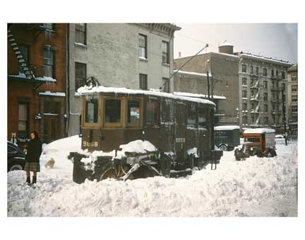 Blizzard with Trolleys 3 - Crown Heights Brooklyn NY Old Vintage Photos and Images
