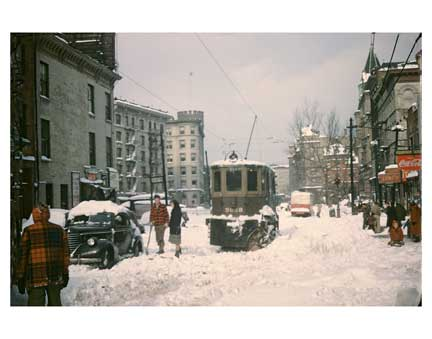 Blizzard with Trolleys 4 - Crown Heights Brooklyn NY Old Vintage Photos and Images