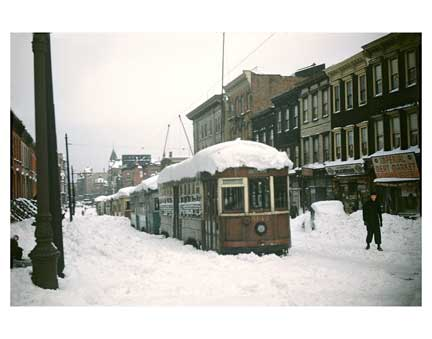 Blizzard with Trolleys 5 - Clinton Hill Brooklyn Old Vintage Photos and Images