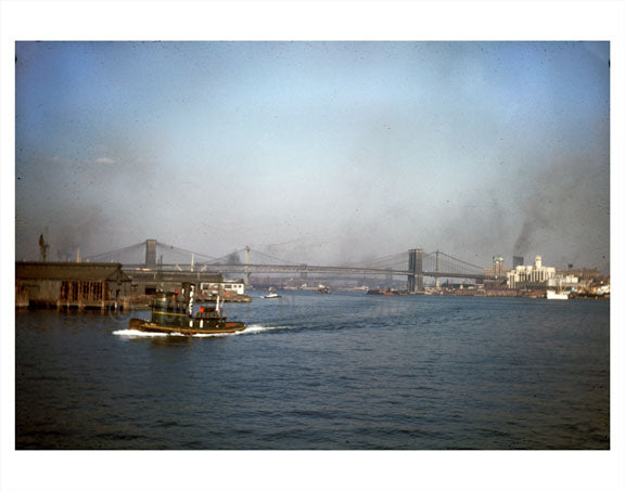 boat passing in front of Manhattan & Brooklyn bridges Old Vintage Photos and Images