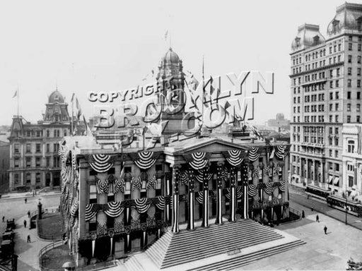 Borough Hall in full bunting during 1908 subway-opening celebration Old Vintage Photos and Images