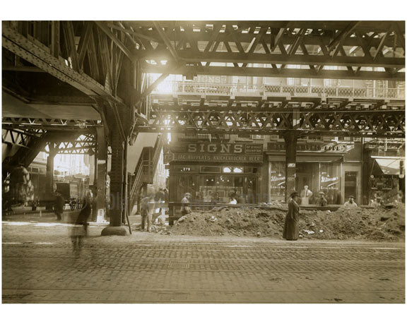Bowery - East Side at Houston Street 1915 Old Vintage Photos and Images
