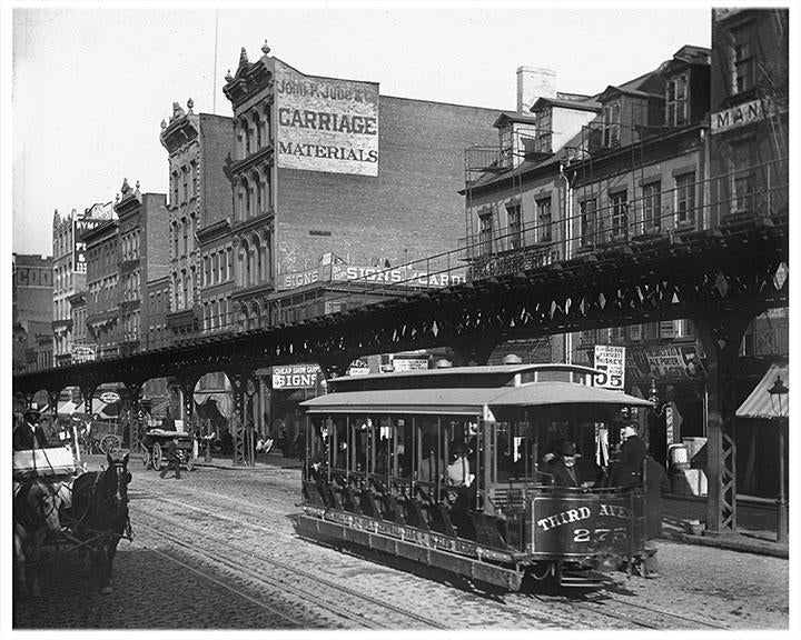 Bowery Trolley, Lower East Side Manhattan 1900 Photos, Pictures & Images