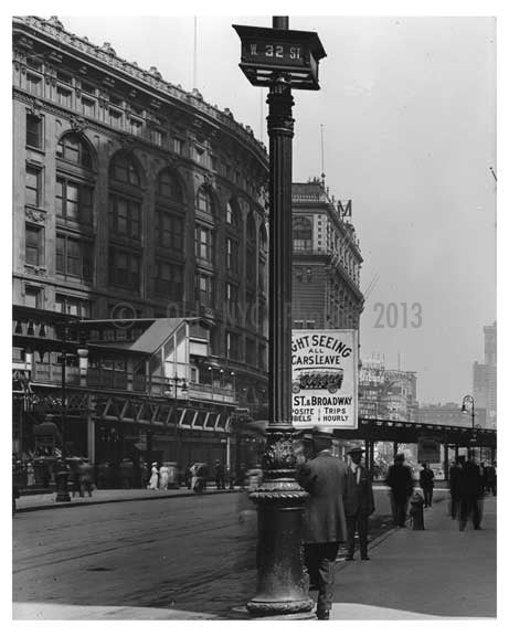 Broadway & 32nd Street - Midtown Manhattan - NY 1914 B Old Vintage Photos and Images