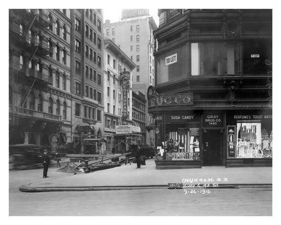 Broadway & 43rd Street - Theater District - Midtown Manhattan 1915 Old Vintage Photos and Images