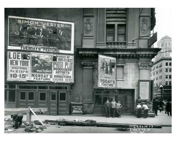 Broadway & 45th Street  - Midtown Manhattan 1915 Old Vintage Photos and Images