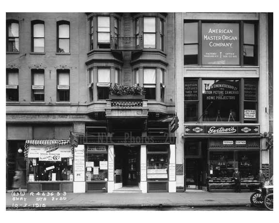 Broadway  street view of shops  - Midtown Manhattan - 1915 Old Vintage Photos and Images