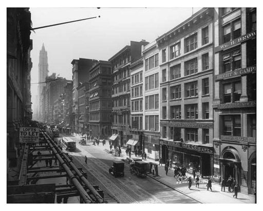 Broadway & White Street - street View - Tribeca - Downtown Manhattan NYC 1913 VI Old Vintage Photos and Images