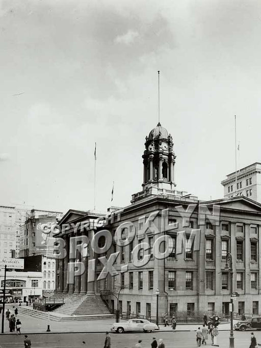 Brooklyn Borough Hall from Court and Remsen Street, 1940s Old Vintage Photos and Images