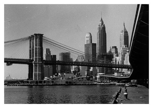 Brooklyn Bridge 1960's with city in shot Old Vintage Photos and Images