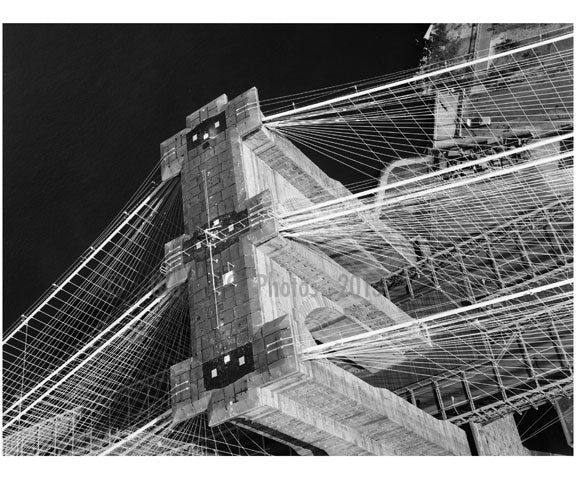 Brooklyn Bridge - aerial view looking at the top of the Manhattan Tower 1982 Old Vintage Photos and Images