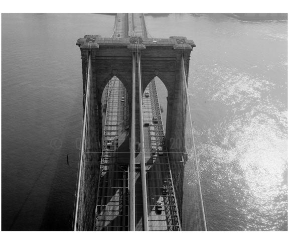 Brooklyn Bridge - aerial view looking down from the Manhattan tower 1982 Old Vintage Photos and Images