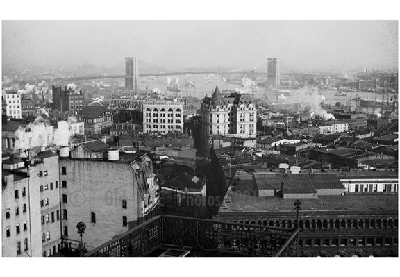 Brooklyn Bridge - as seen from a rooftop Old Vintage Photos and Images