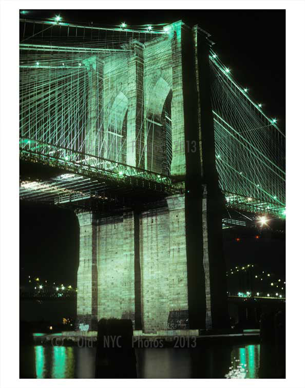 Brooklyn Bridge at night 2 Old Vintage Photos and Images
